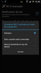 configuración avanzada de la conexión wifi