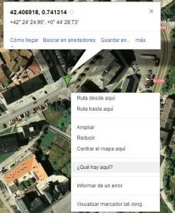 saber coordenadas x,y de un lugar en maps